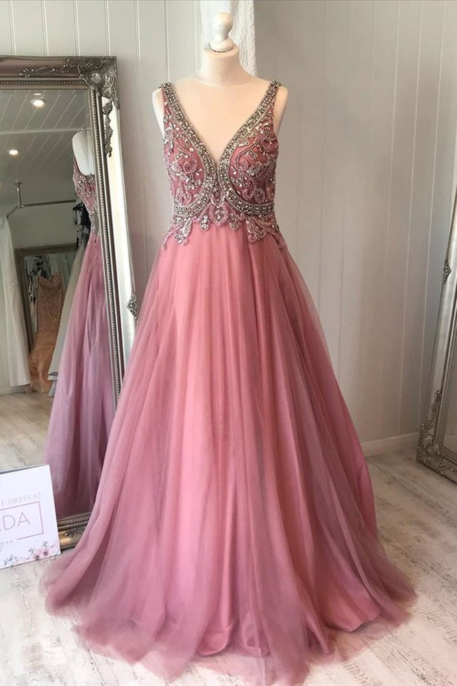 Elegant V-Neck Dusty Rose Long Prom Dress with Beads