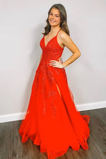 Lace-Up Back V-Neck Red Long Prom Dress with Appliques