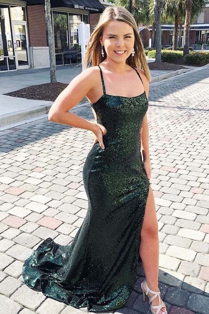 Spaghetti Strap Dark Green Long Prom Dress with Slit