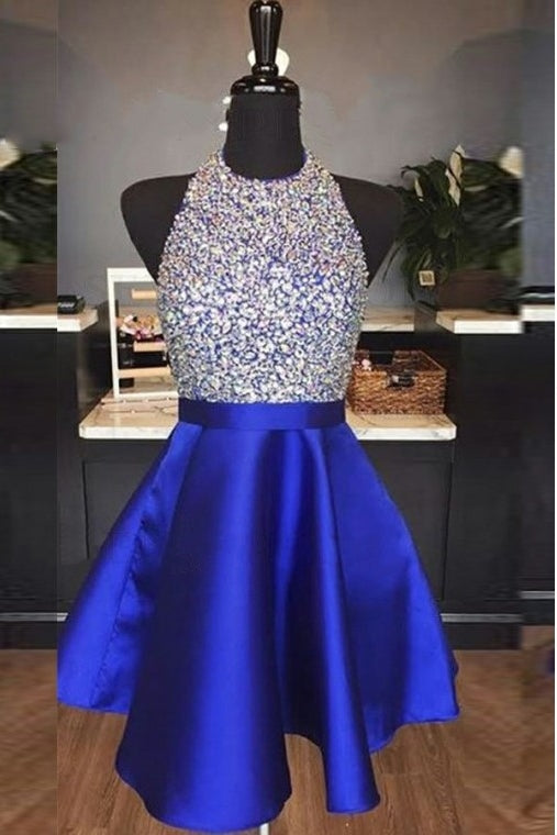 Elegant Halter Short Royal Blue Homecoming Dress