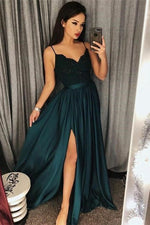 Elegant A-line Appliqued Dark Blue Long Prom Dress