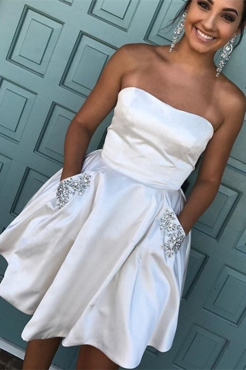 Strapless White Homecoming Dress with Beaded Pockets