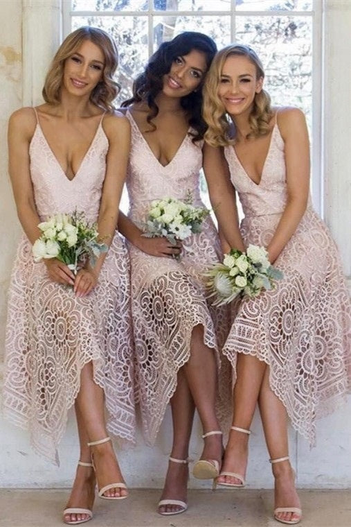 Asymmetrical V-Neck Pink Lace Bridesmaid Dress