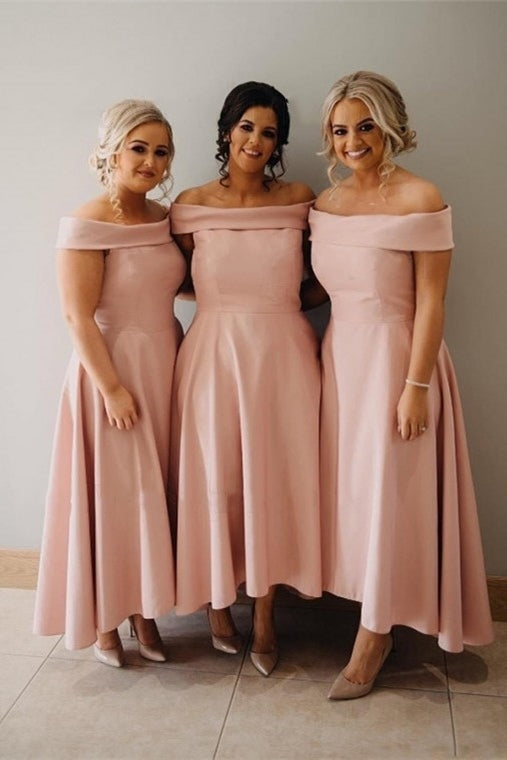 Elegant A-line Off Shoulder Pink Long Bridesmaid Dress