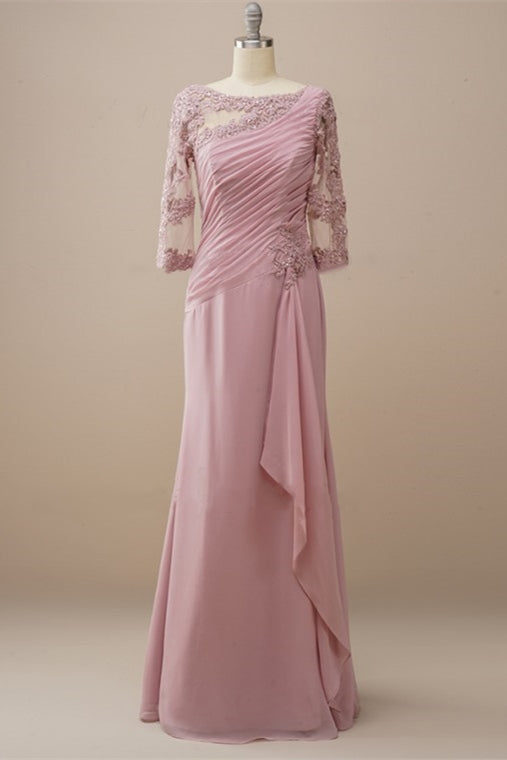 Long Sleeves Dusty Rose Mother of the Bride Dress with Appliques