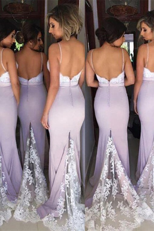 Mermaid Straps Pale Lavender Bridesmaid Dress with Appliques