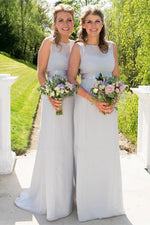Modest Jewel Silver Long Bridesmaid Dress with Belt