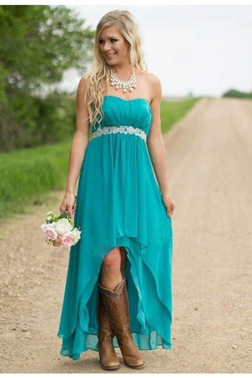 High Low Strapless Turquoise Chiffon Bridesmaid Dress with Belt