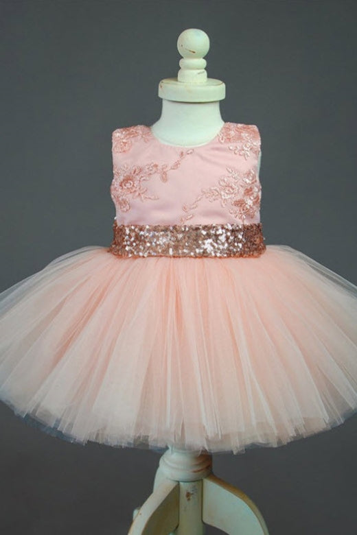 Cute Appliqued Rose Gold Flower Girl Dress with Bow Knot