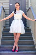 Elegant Cap Sleeves Short White Lace Homecoming Dress