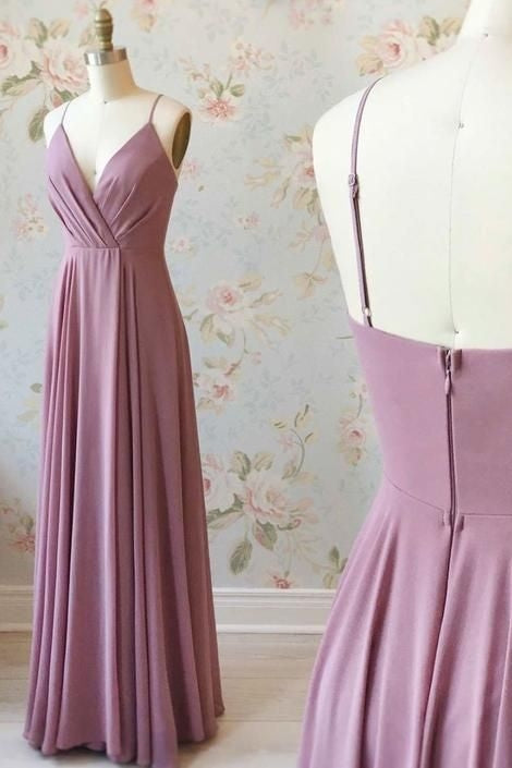 Elegant A-line V-Neck Mauve Bridesmaid Dress