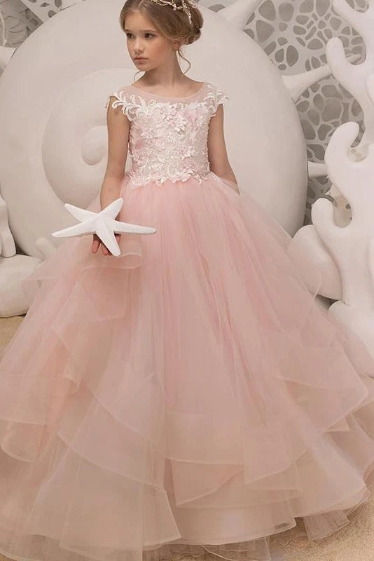 Princess Long Pink Flower Girl Dress with Lace Appliques