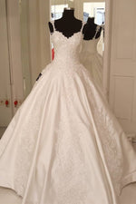 Lace Straps A-line Ivory Wedding Gown with Appliques