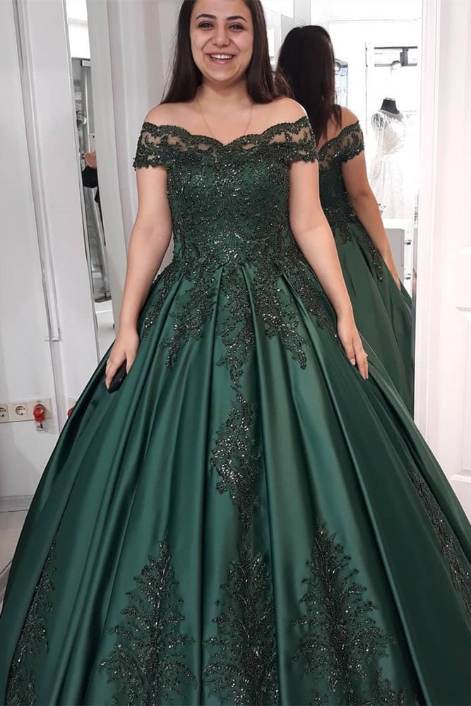 Princess Off-the-Shoulder Dark Green Wedding Dress with Appliques