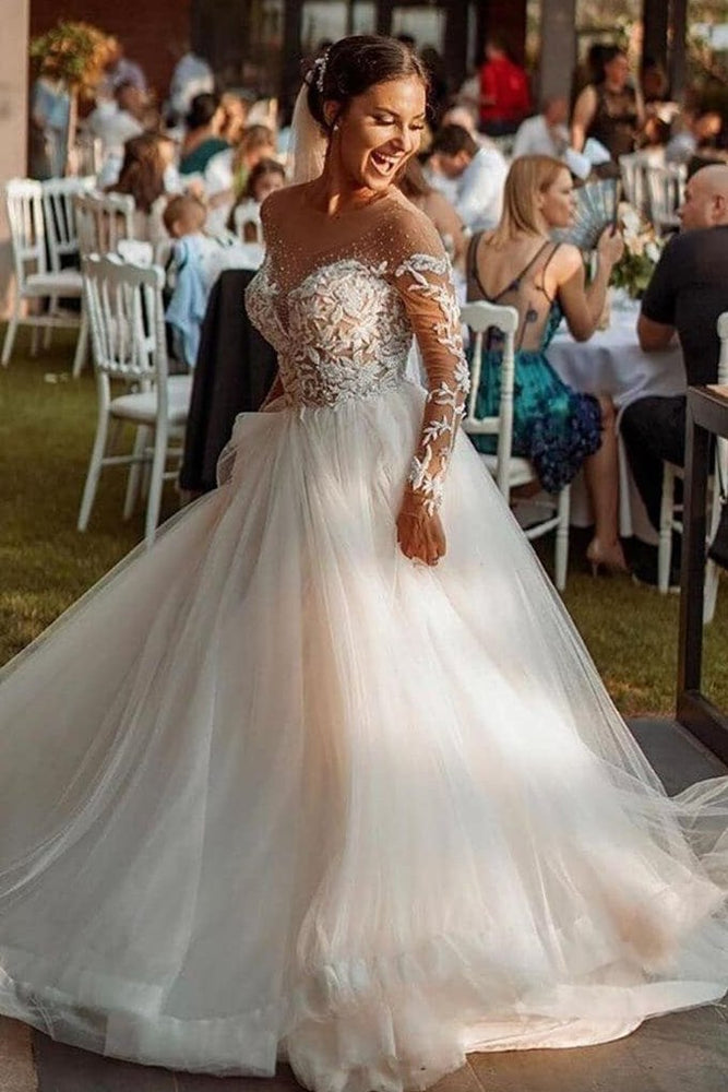 Gorgeous Long Sleeves White Wedding Dress with Appliques
