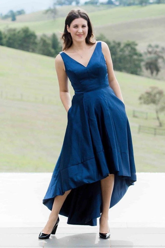 High Low V-Neck Royal Blue Evening Dress with Pockets