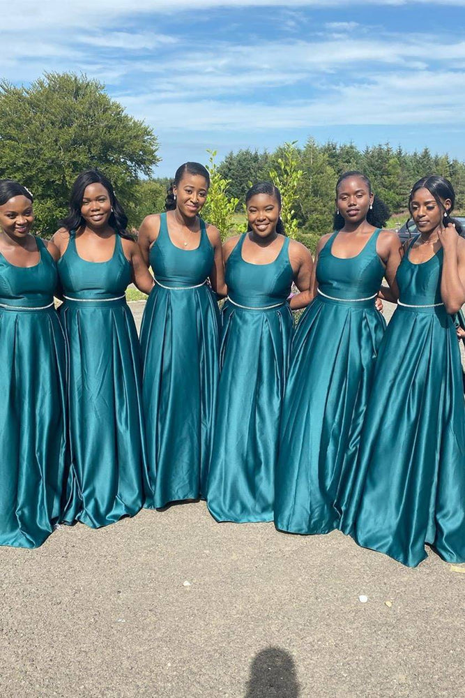 Elegant Square A-line Long Teal Bridesmaid Dress with Belt