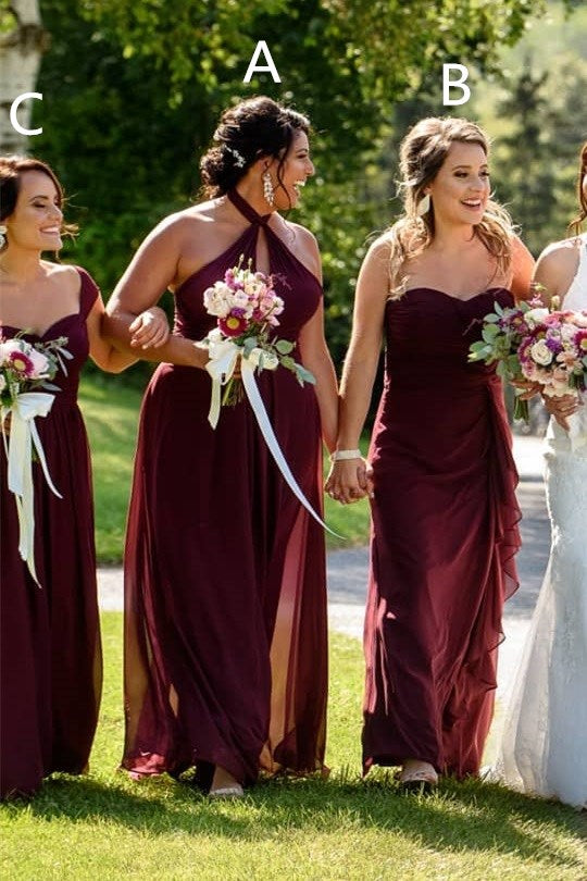 Mismatched Long Burgundy Chiffon Bridesmaid Dress