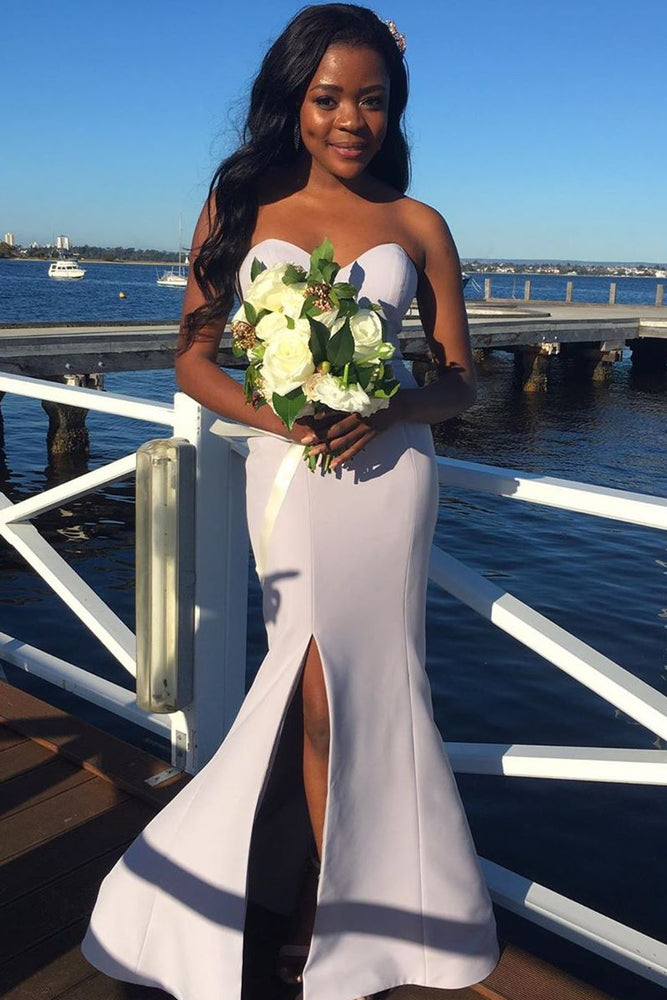Mermaid Sweetheart Long White Bridesmaid Dress