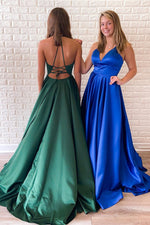 Simple V Neck Royal Blue Long Prom Dress with Tie Back