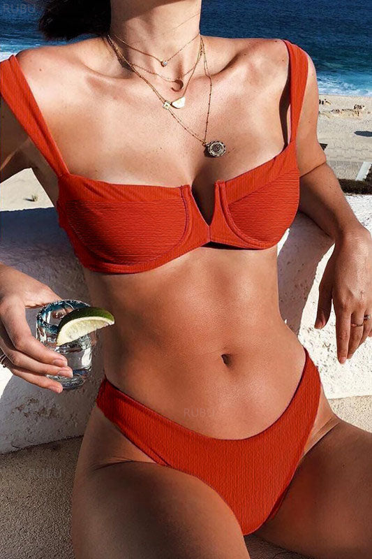 Strappy High Cut Red Bikini Set
