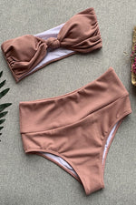 Knotting Bandeau Dusty Pink Bikini with Pleats