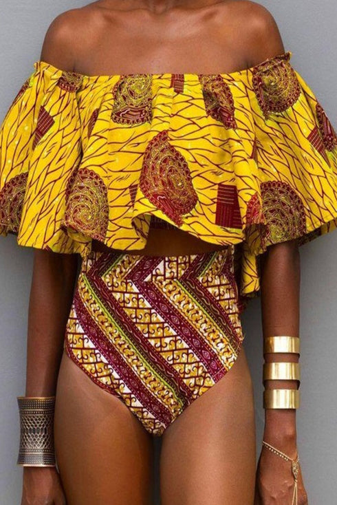 Off Shoulder Falbala Tribal Print Bikini Set