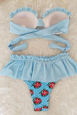 High-Waisted Falbala Floral Print Bikini Set