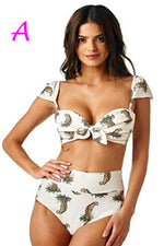 Knotting Cap Sleeves Leopards Print White Bikini