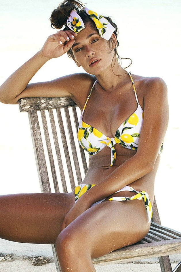 Halter Lemon Print Tie Side Bikini Set