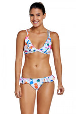 Summer Girl Colorful Fruit Print Ruffled Bikini Set