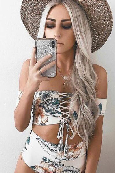 Off Shoulder High Rise Tie-Front Bikini Set with Floral Print