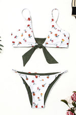 Tie Front Rose Print Cheeky Bikini Set