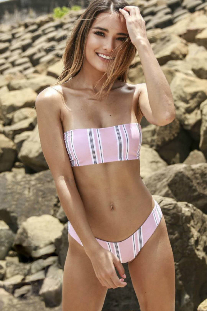 Striped Bandeau Pink Bikini Set