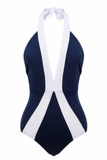 One Piece Plunging Neck Color Block Navy Blue Bikini