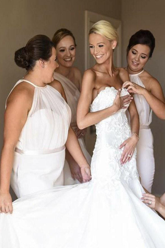 Mermaid Sheer Halter White Long Bridesmaid Dress