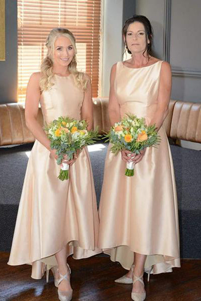 A-Line Hi-Low Gold Satin Bridesmaid Dress