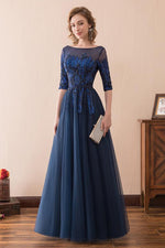 Half Sleeves Tulle Navy Blue Long Prom Dress with Sequins