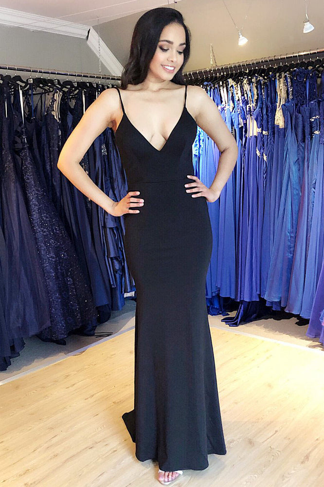 Sheath Black Evening Dress with Open Back