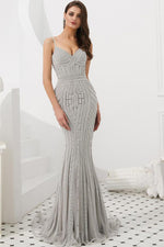 Mermaid Straps Beaded Gold Long Prom Evening Dress