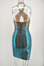 Sparkly Halter Keyhole Sheath Sequins Party Dress