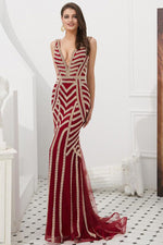 Dark Red Mermaid Long Prom Dress with Beading