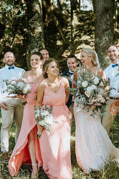 Coral Chiffon Front-Split Long Bridesmaid Dress