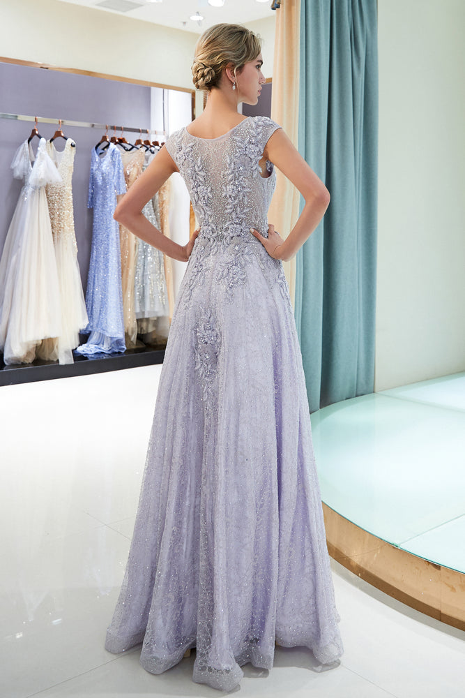 Jewel A-Line Lace Lavender Prom Dress with Appliques / Beading