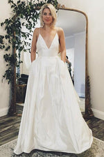 Minimalist Long V-Neck A-line White Wedding Dress with Pockets