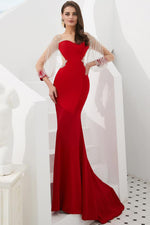 Mermaid Red Long Prom Evening Gown with Tassel Sleeves