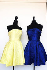 Elegant Strapless Lace Over Satin Yellow Homecoming Dress