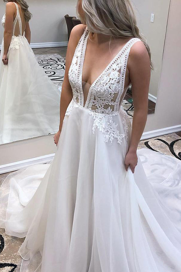 Long Deep V Neck A-line White Wedding Dress with Appliques