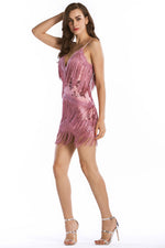 V-Back Tassel Mini Pink Party Dress