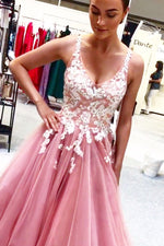 Princess A Line Pink Lace Appliqued Prom Dress